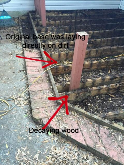 Original wood deck decay