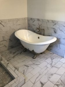 Bathroom after remodeled with claw foot tub
